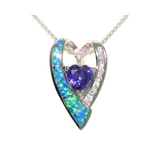 CGC Sterling Silver Created Opal Double Heart Necklace