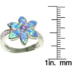 CGC Sterling Silver Opal and CZ Flower Ring