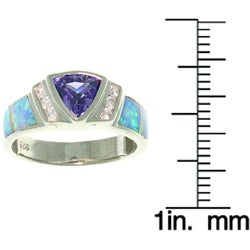 CGC Sterling Silver Opal and CZ Modern Ring