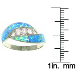 CGC Sterling Silver Opal and Dazzling CZ Ring