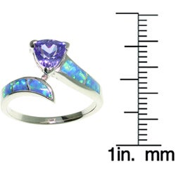 CGC Sterling Silver Opal and Purple CZ Ring
