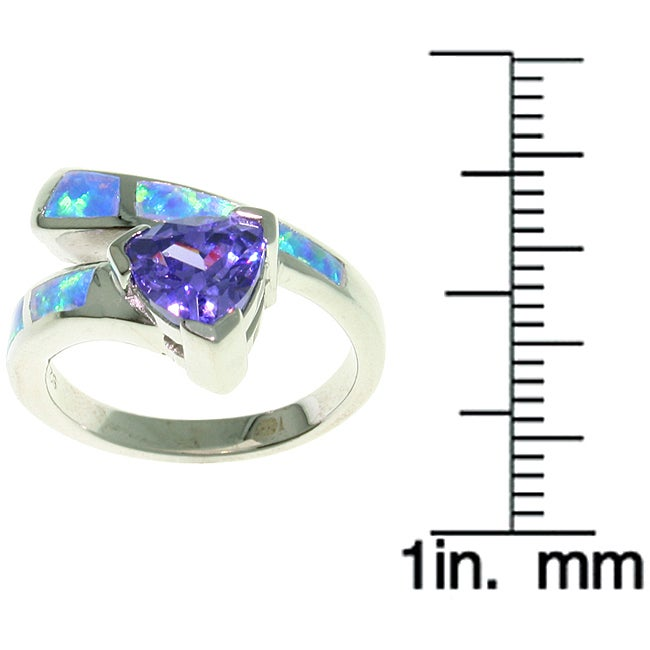 Jewelry Trends Sterling Silver Opal and Purple CZ Glamorous Ring