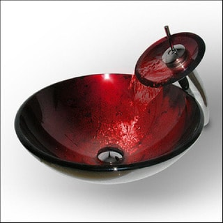 Vigo Ruby Red Vessel Sink and Matching Waterfall Faucet