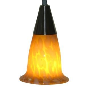 Brushed Nickel Amber Glass Mini Pendant Light