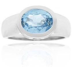 Glitzy Rocks Sterling Silver Blue Topaz Ring