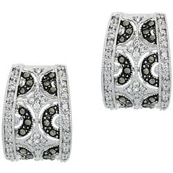 Glitzy Rocks Sterling Silver Marcasite and CZ Hoop Earrings