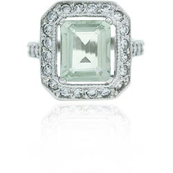 Glitzy Rocks Sterling Silver Green Amethyst and CZ Ring