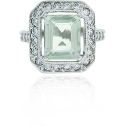 Glitzy Rocks Sterling Silver Green Amethyst and CZ Ring