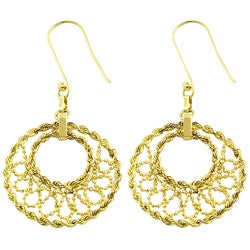 Fremada 10k Yellow Gold Beaded Loop Drop Earrings