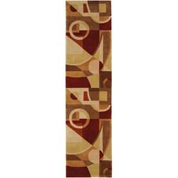 Handmade Deco Beige/ Multi N. Z. Wool Runner (2'6 x 14')