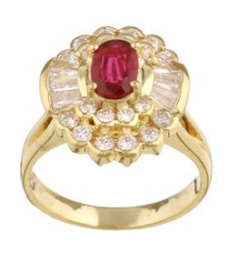 Kabella 18k Gold Ruby and 1 1/10ct TDW Diamond Ring (GH, SI1)