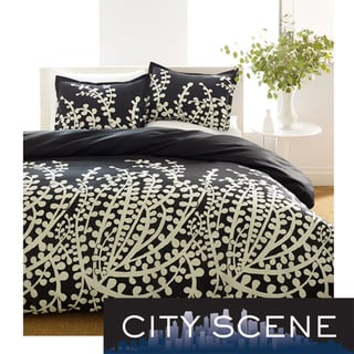 City Scene Branches Black 3-piece Comforter Set