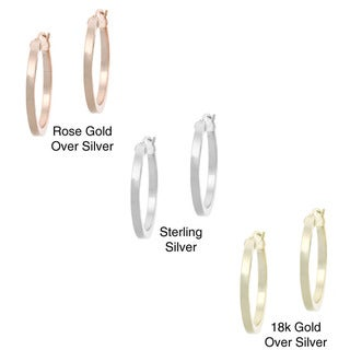 Mondevio Polished Sterling Silver 25mm Hoop Earrings with Saddleback Clasp
