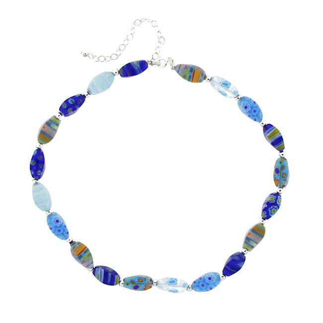 Glitzy Rocks Sterling Silver Blue Venetian Glass Nugget Necklace