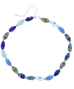 Glitzy Rocks Sterling Silver Blue Venetian Glass Nugget Necklace