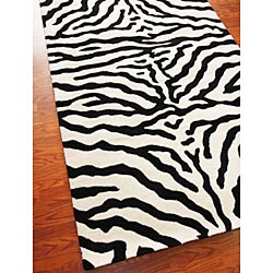 nuLOOM Zebra Animal Pattern Black/ White Wool Rug (7'6 x 9'6)