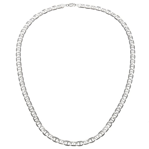 "Simon Frank 14k White Gold Overlay 6mm Gucci-style Necklace (24""-30"")"