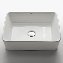 Kraus White Rectangular Ceramic Vessel Sink