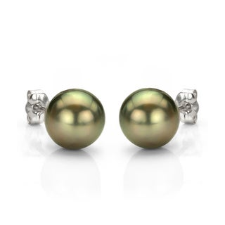 DaVonna 14k Gold Tahitian Cultured Pearl Stud Earrings (9-9.5 mm)(Case of 3)