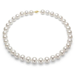 DaVonna 14k Gold White High Luster FW Pearl Necklace (7.5-8 mm/ 24 in)(set of 3)