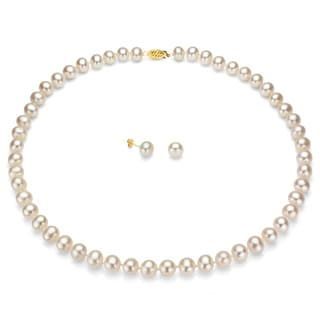 DaVonna 14k Gold FW Pearl Necklace and Earring Set (8-9 mm/ 18 in)(Case of 3)