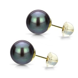 DaVonna 14k Gold Black Perfect Round Akoya Pearl Stud Earrings (6 mm )(Set of 5)