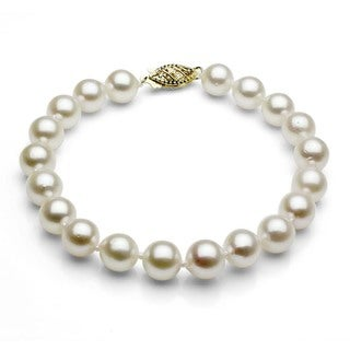 DaVonna 14k Gold White Akoya Cultured Pearl Bracelet (6.5-7 mm)(Set of 3)
