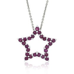 Glitzy Rocks Sterling Silver Ruby Star Necklace