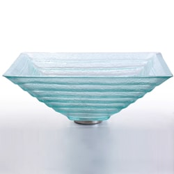 Kraus Alexandrite Square Clear Glass Vessel Sink with PU-MR Chrome