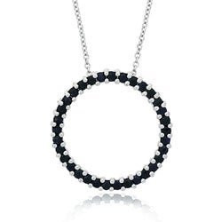 Glitzy Rocks Sterling Silver Sapphire Circle Necklace