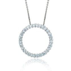 Glitzy Rocks Sterling Silver Blue Topaz Circle Necklace