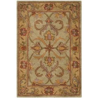 Safavieh Handmade Heritage Kermansha Green/ Gold Wool Rug (2' x 3')