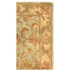 Handmade Heritage Kermansha Green/ Gold Wool Runner (2'3 x 12')