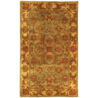 Handmade Heritage Kermansha Green/ Gold Wool Rug (3' x 5')