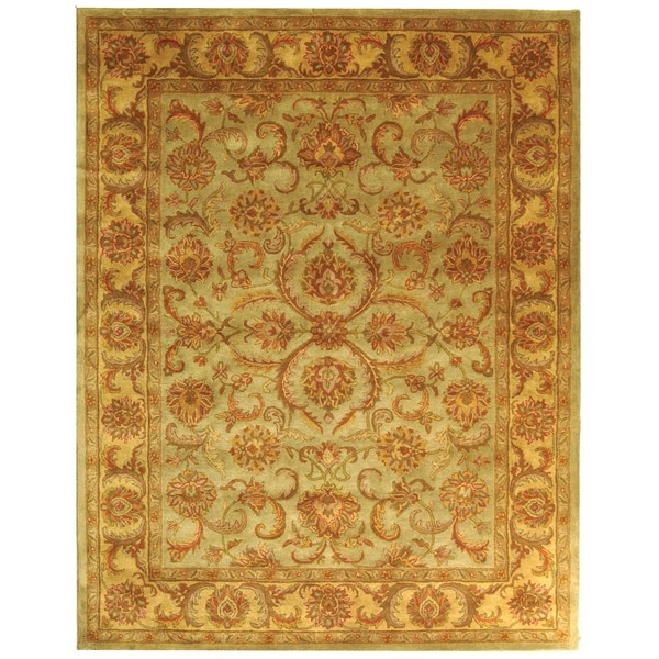 Safavieh Handmade Heritage Kermansha Green/ Gold Wool Rug (4' x 6')