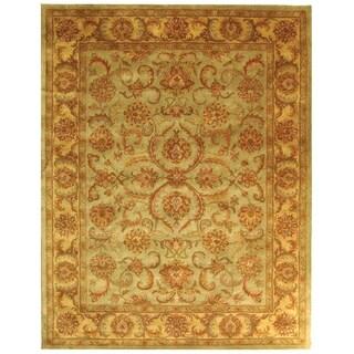 Handmade Heritage Kermansha Green/ Gold Wool Rug (5' x 8')