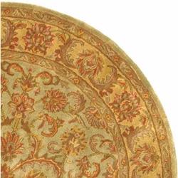 Handmade Heritage Kermansha Green/ Gold Wool Rug (8' Round)