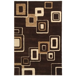 Handmade Soho Gala Brown/ Beige New Zealand Wool Rug (7'6 x 9'6)