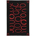 Safavieh Handmade Soho Eclipse Black/ Red New Zealand Wool Rug (5' x 8')