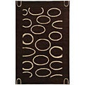 Handmade Soho Eclipse Brown/ Ivory N. Z. Wool Rug (3'6 x 5'6)