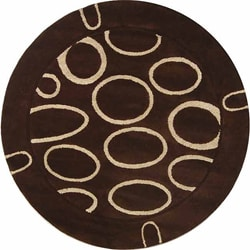 Handmade Soho Eclipse Brown/ Ivory N. Z. Wool Rug (6' Round)