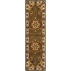 Handmade Tabriz Green/ Ivory Wool and Silk Runner (2'3 x 12')