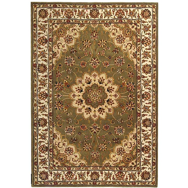 Safavieh Handmade Tabriz Green/ Ivory Wool and Silk Rug (5' x 8')
