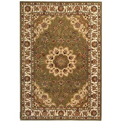 Handmade Tabriz Green/ Ivory Wool and Silk Rug (6' x 9')