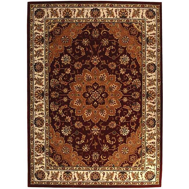 Safavieh Handmade Traditions Tabriz Red/ Ivory Wool and Silk Rug (6' x 9')
