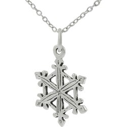 Journee Collection  Sterling Silver Snowflake Necklace