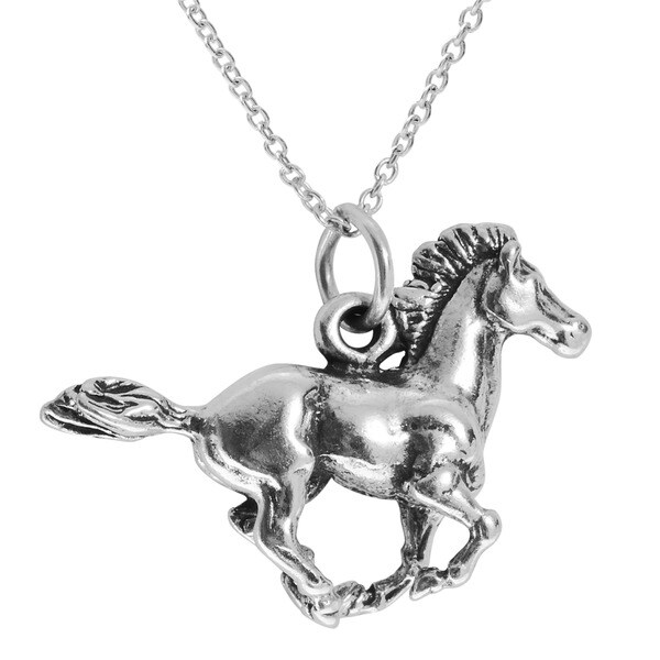 Journee Collection Sterling-silver Running Horse Necklace with 18-inch Cable Chain