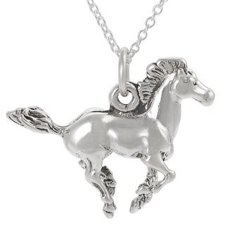 Sterling-silver Running Horse Necklace with 18-inch Cable Chain