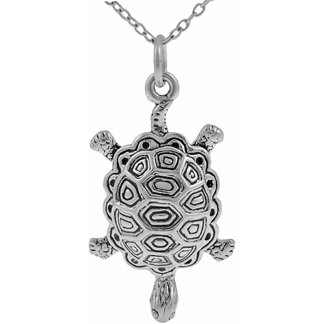 Journee Collection Sterling Silver Textured Turtle Necklace