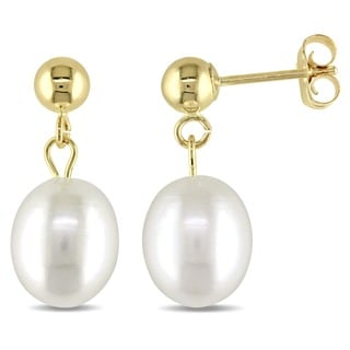 M by Miadora 14k Yellow Gold Cultured Freshwater Pearl Drop Earrings (6.5-7 mm)